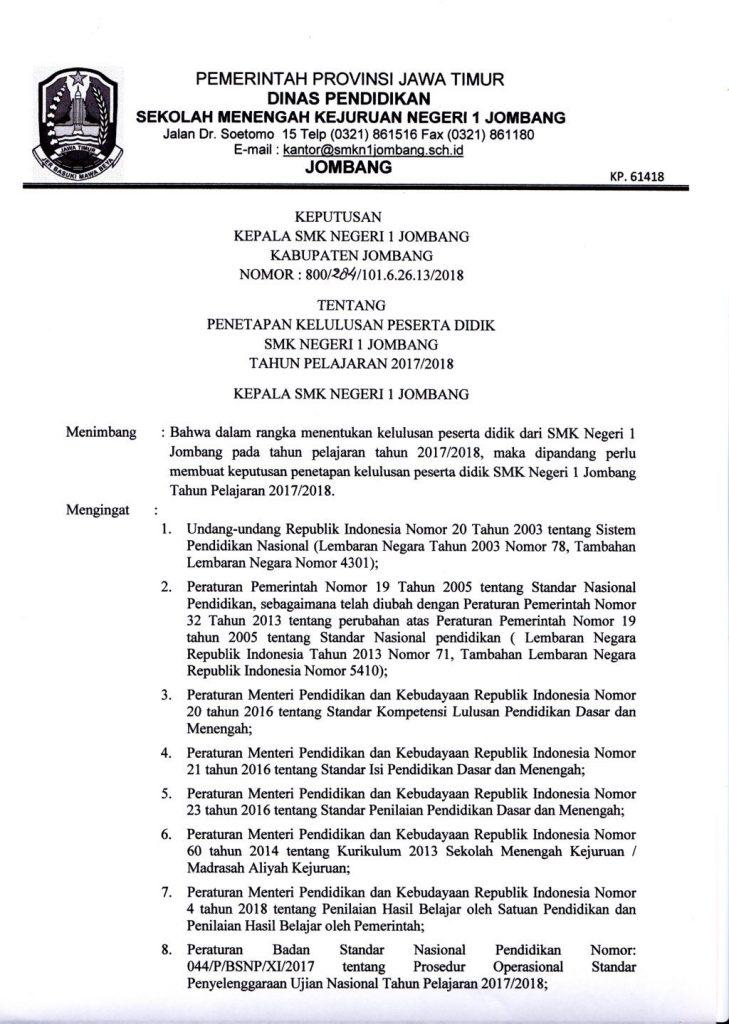 PENETAPAN KELULUSAN PESERTA DIDIK SMK NEGERI 1 JOMBANG TAHUN PELAJARAN 2017 / 2018