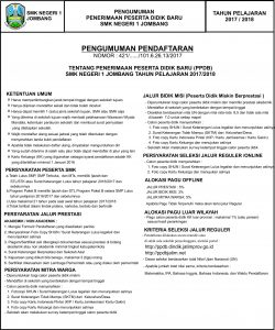 PENERIMAAN PESERTA DIDIK BARU TAHUN PELAJARAN 2017/2018