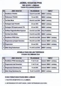 PPDB 2016/2017 SMK Negeri 1 Jombang